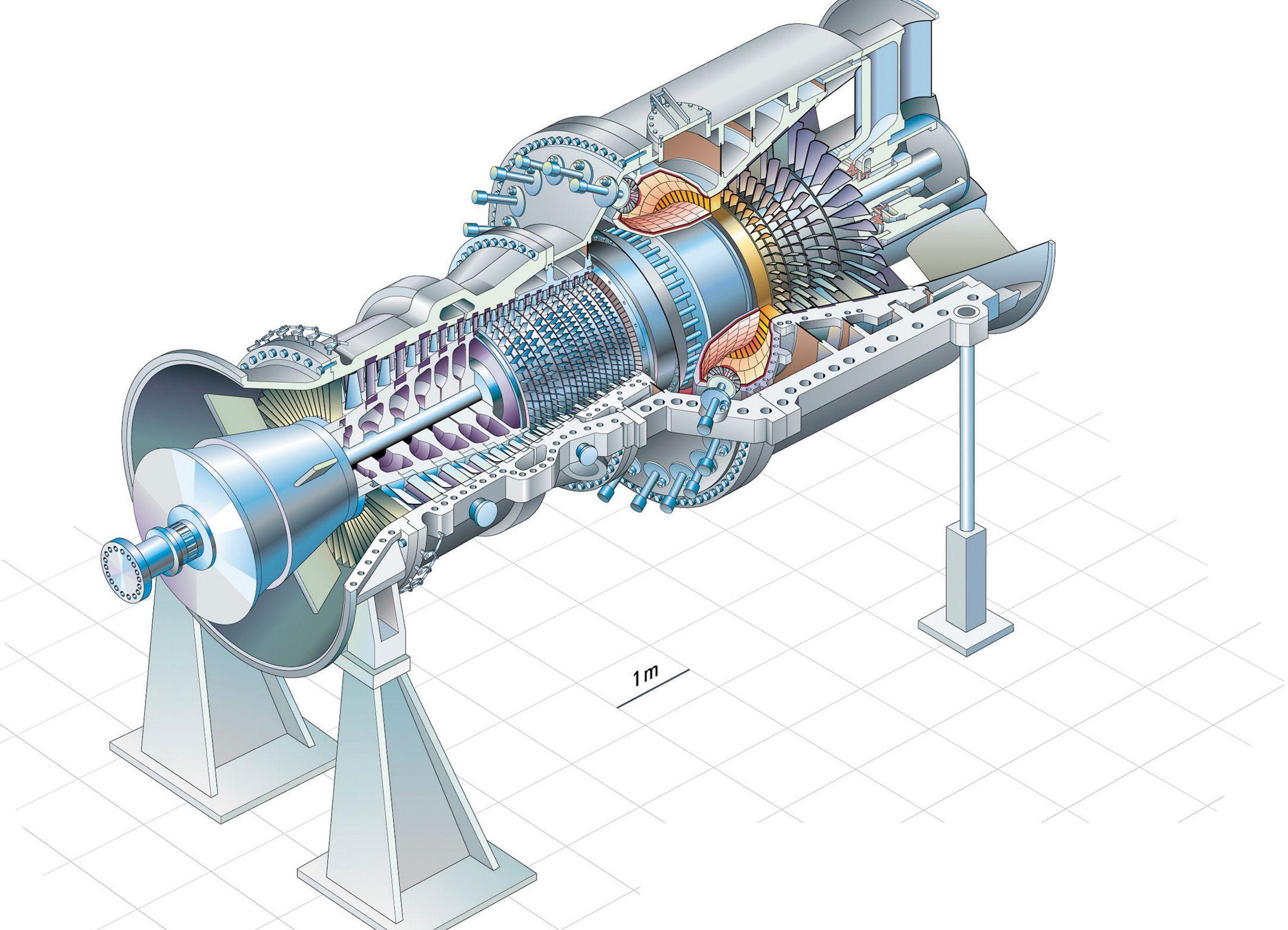 Gas turbine SGT54000F (2126×1535) Cutaways / Blueprints