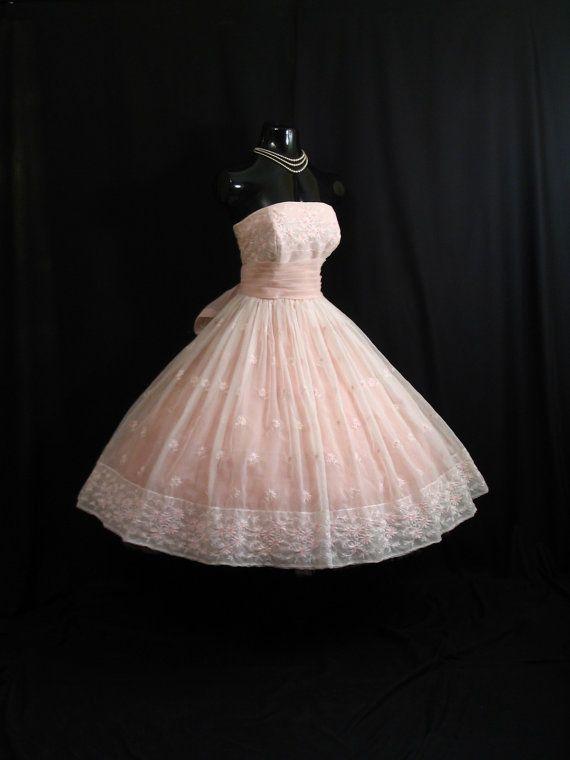 Vintage 1950s Strapless Will Steinman Pink Embroidered
