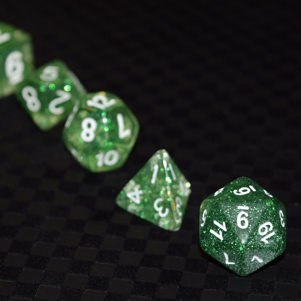 Green Dice Bag New 7 Piece Translucent Clear Green Nebula Polyhedral Dice Set