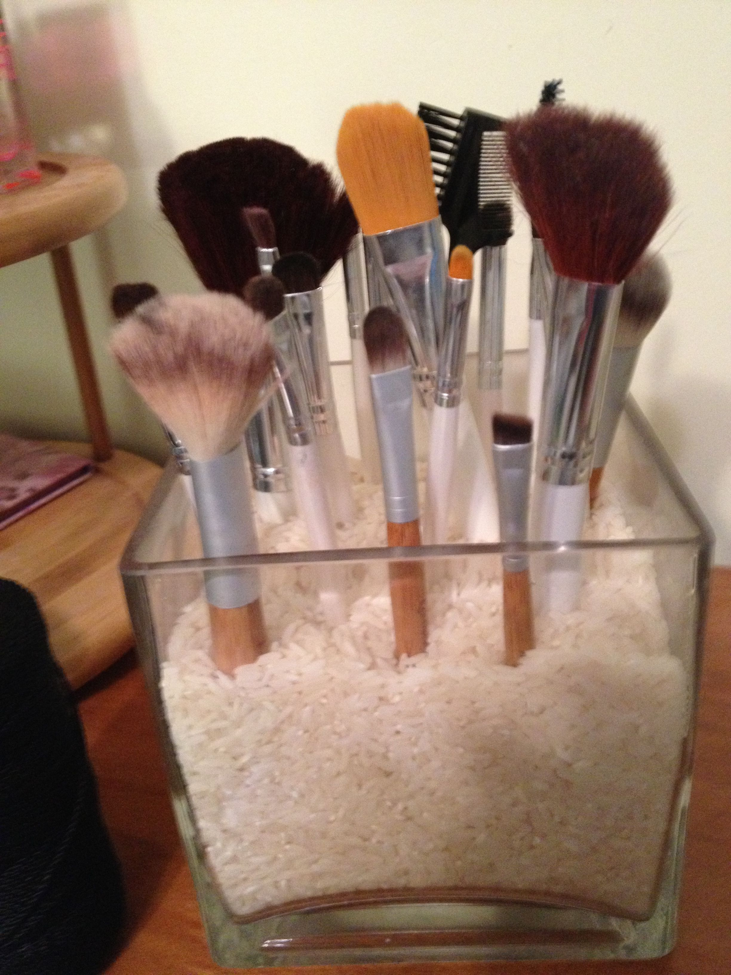 DIY makeup brush holder! I put rice, but you can use any