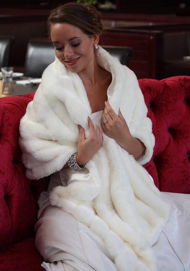 Vintage inspired faux fur wedding wrap wedding wraps for Fur shrug for wedding dress