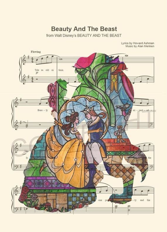 Beauty and the Beast Silhouette Stained Glass Tale As Old As Time Sheet Music Art Print  Beauty and The Beast
