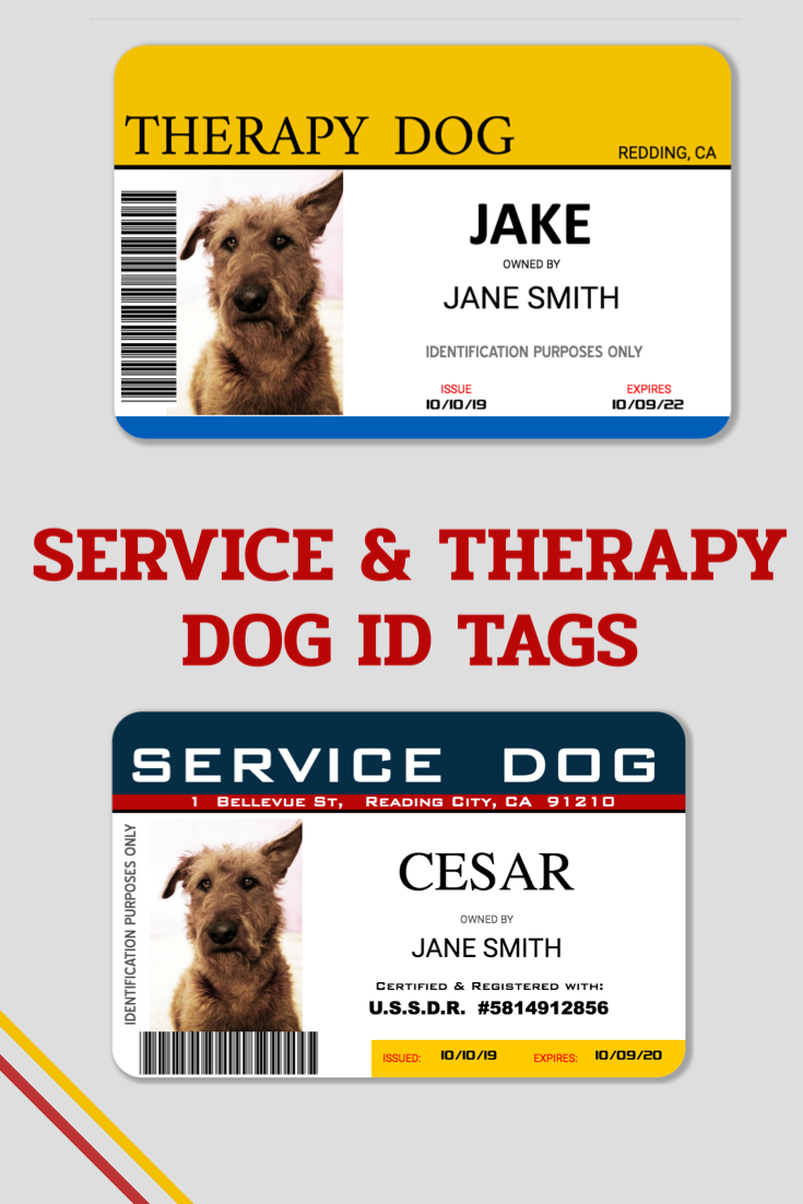 Service Dog Id Tags Easyidcard Com Dog Id Id Card Template Dog Id Tags
