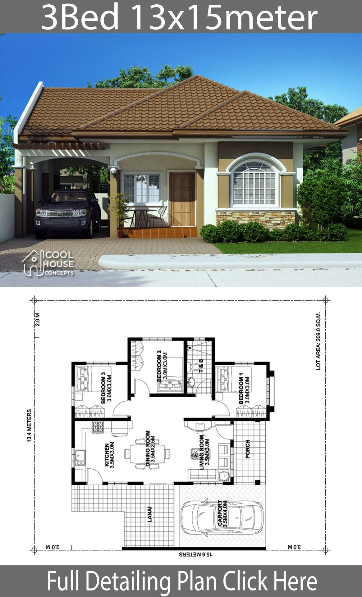 Home Design Plan 13x15m With 3 Bedrooms Home Design With Plansearch Affordable House Plans Philippines House Design Beautiful House Plans
