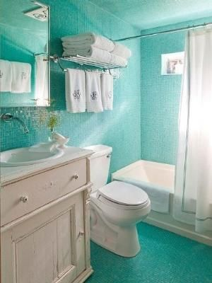 glossy cyan small bathroom ideas how to choose small bathroom color by blstrawberry