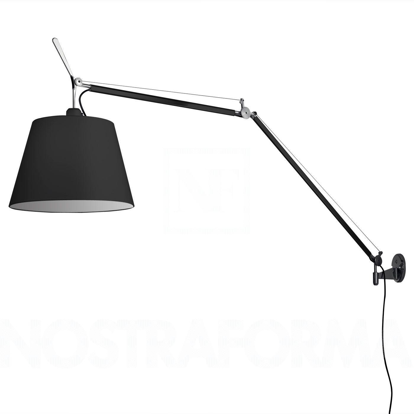 Artemide Tolomeo Mega Parete Wall Lamp Black Black Wall Lamps Large Wall Lighting Wall Lamp