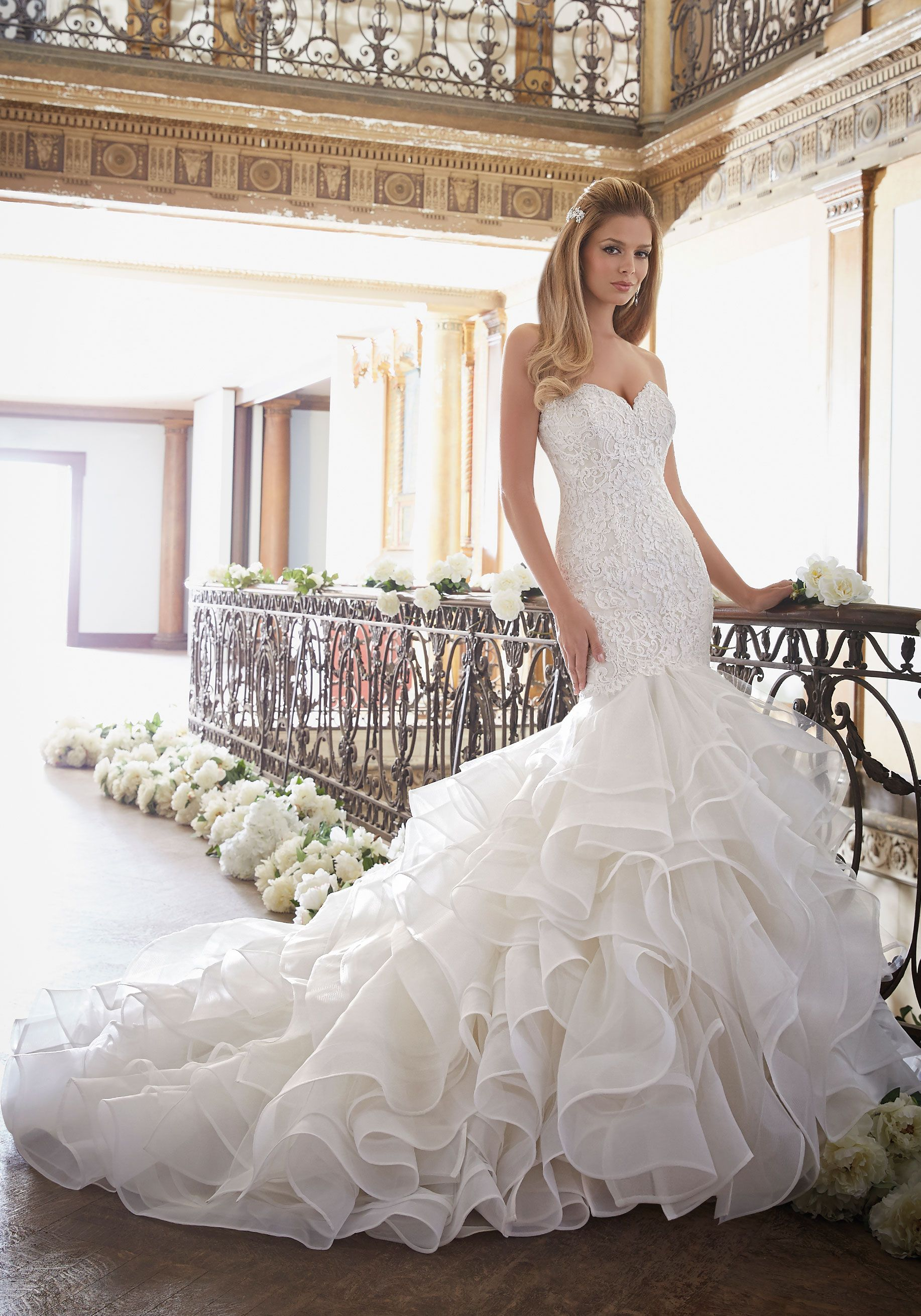 46841570410 Alencon Lace Meets Flounced Tulle and Organza Wedding Dress Designed by  Madeline Gardner. Colors  White