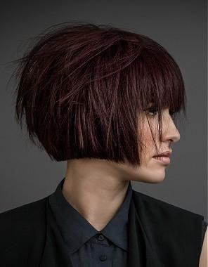 A Short Brown Straight Bob Choppy Definedfringe Volume Womens - Bob hairstyle definition