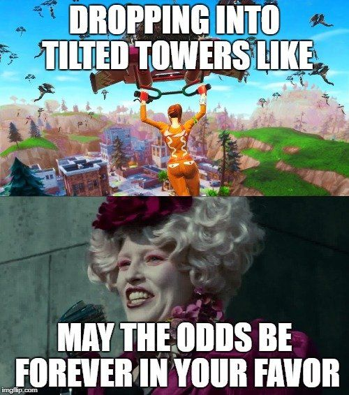 Dropping Into Tilted Towers Like Fortnite Battle Royale Spongebob Funny Funny Memes Girlfriend Humor