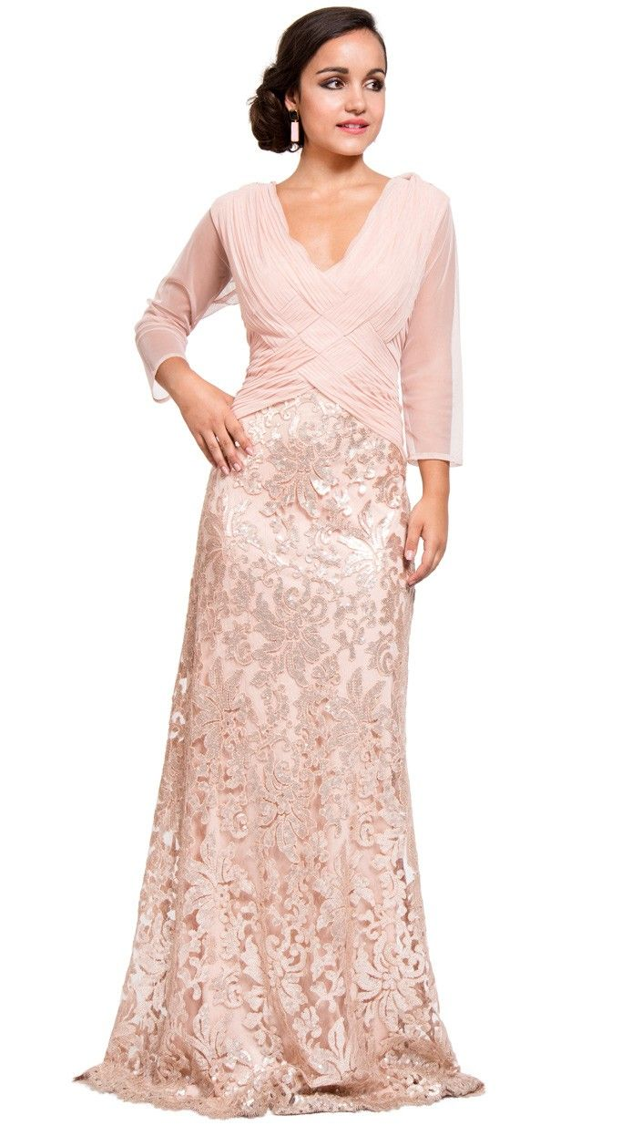 vestido largo de madrina en rosa palo con manga y encaje de tadashi ...