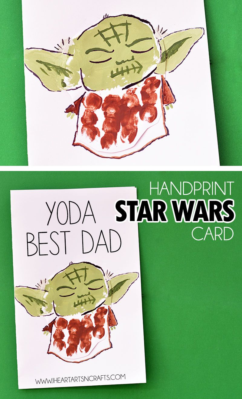 Handprint Yoda Fatherus Day Card Dads Star and Father