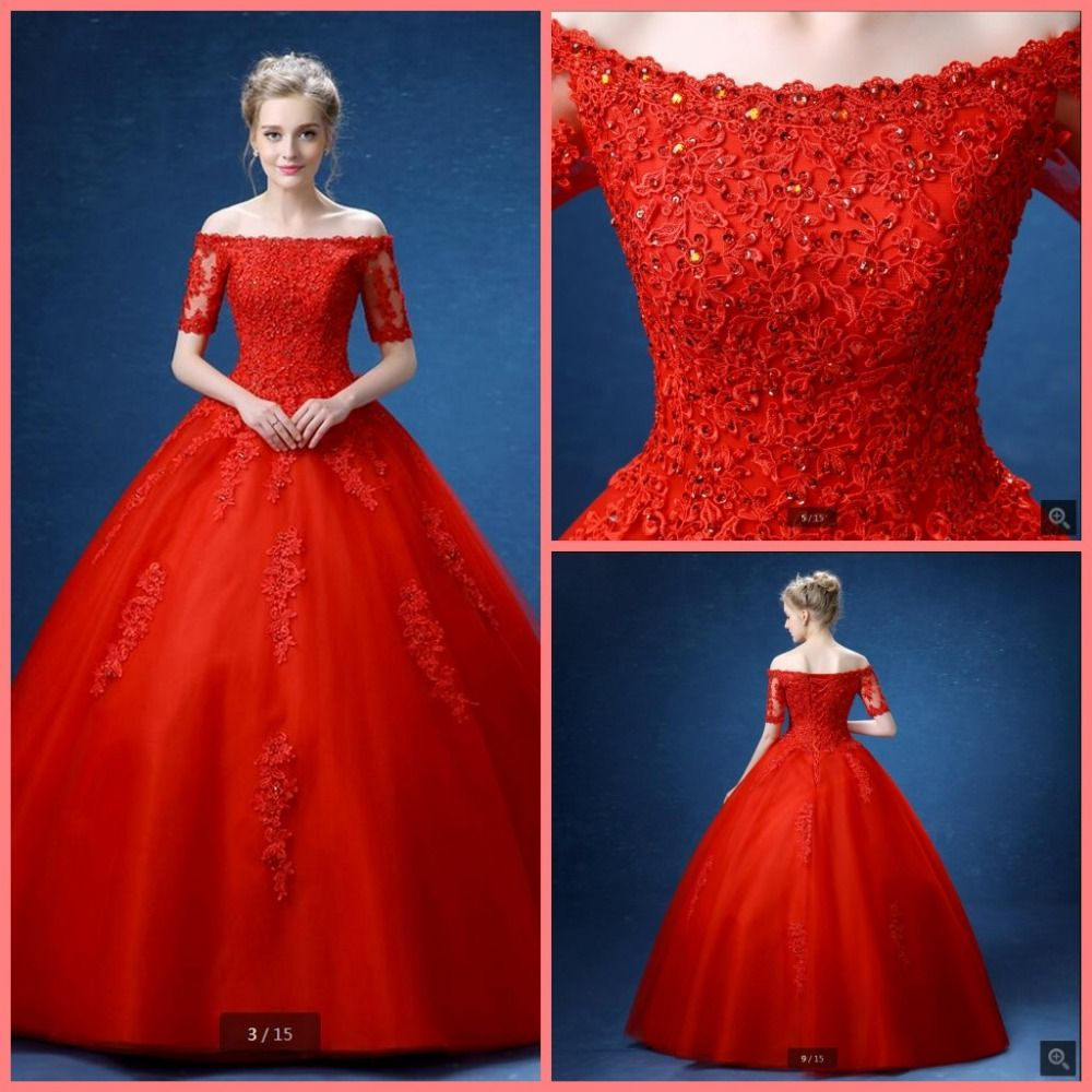2016 new arrival ball gown red wedding dress lace appliques beading ...