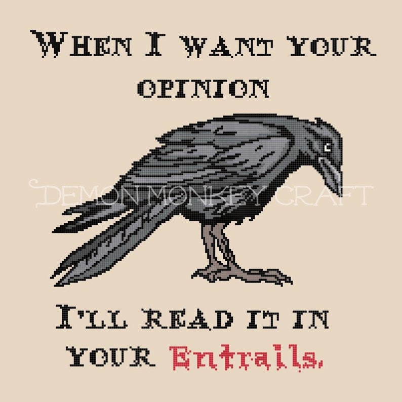 Opinions and Entrails with Crow, a DIGITAL DOWNLOAD PATTERN for cross stitch