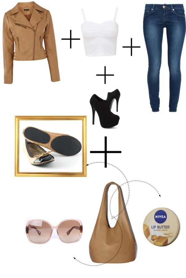 Transition from day in the city to night in the city with skinny jeans, a cropped white tank top, a camel colored leather jacket, a carry-all tote, and Fit in Clouds rollable flats