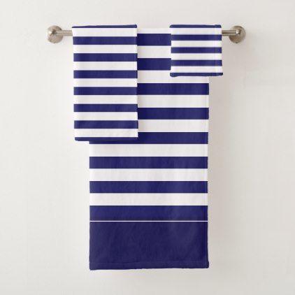 Midnight Blue And White Striped Bath Towel Set Zazzle Com
