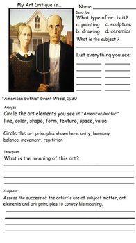 Art Critique Dbae 6 Printable Art Worksheets Art
