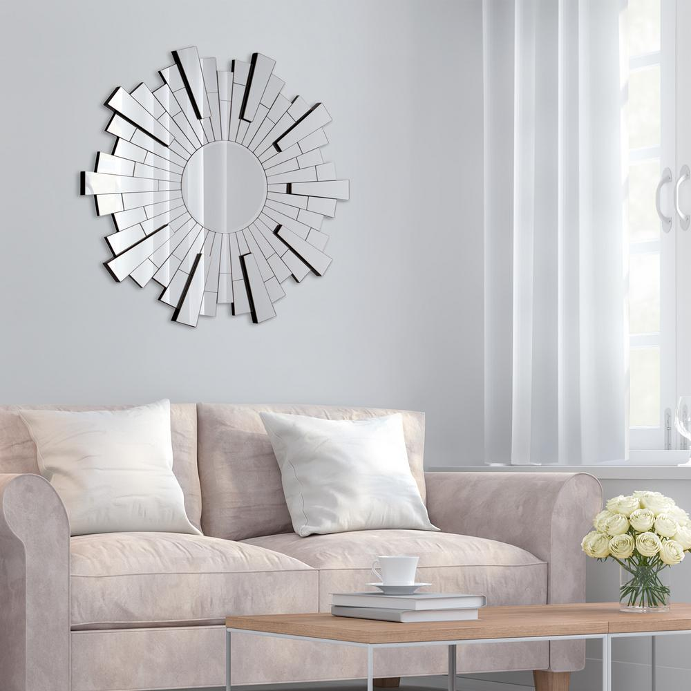 Pinnacle Starburst Round Silver Decorative Mirror Decor Mirror Decor Trending Decor #silver #mirrors #living #room
