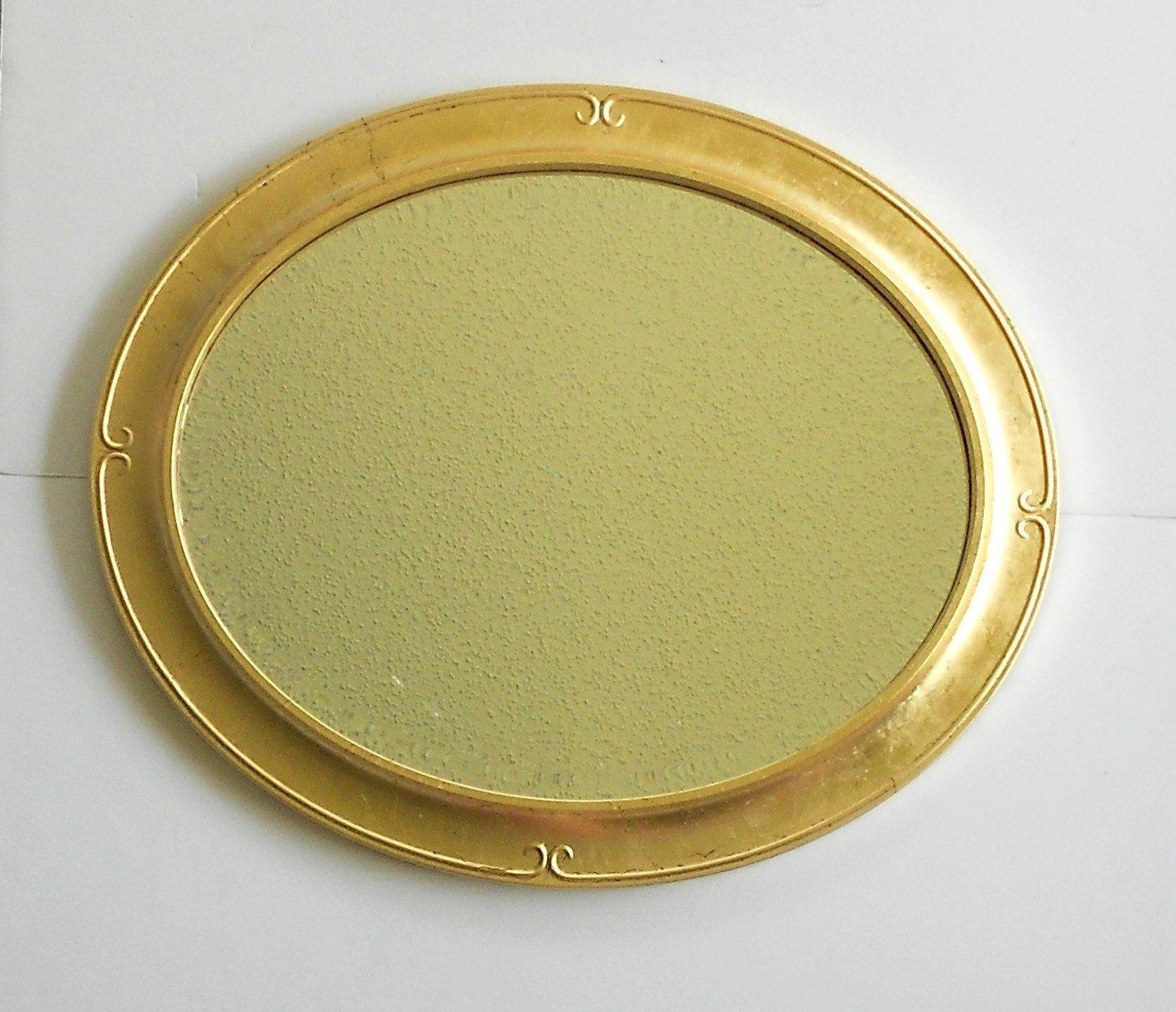 Large Oval Gold Leaf Wall Mirror Gilt Decorative