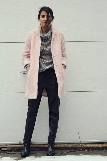 Topshop Pink Fuzzy Coat, H&M Faux Leather Pants, Zara Patent ...