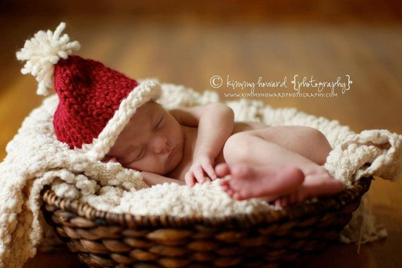Knit Baby Holiday Christmas Hat for Boys or Girls