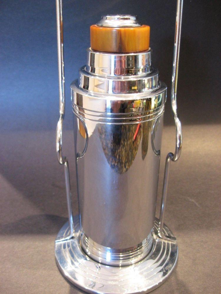 Perfect Antique Art Deco Glo Hill Of Canada Cocktail Shaker W Bakelite Lid Vtg  Barware