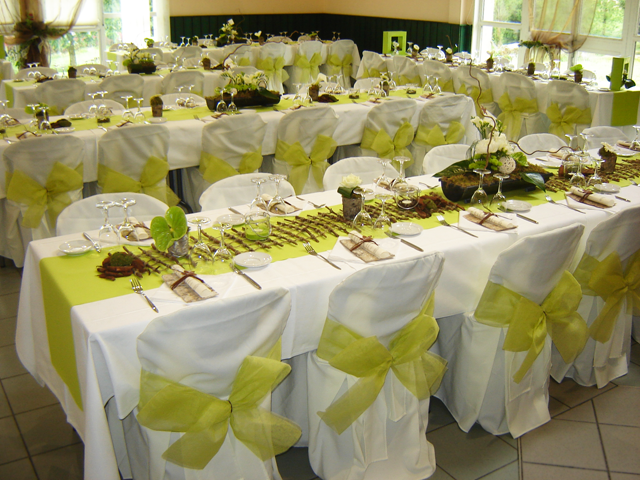 decoration table mariage vert