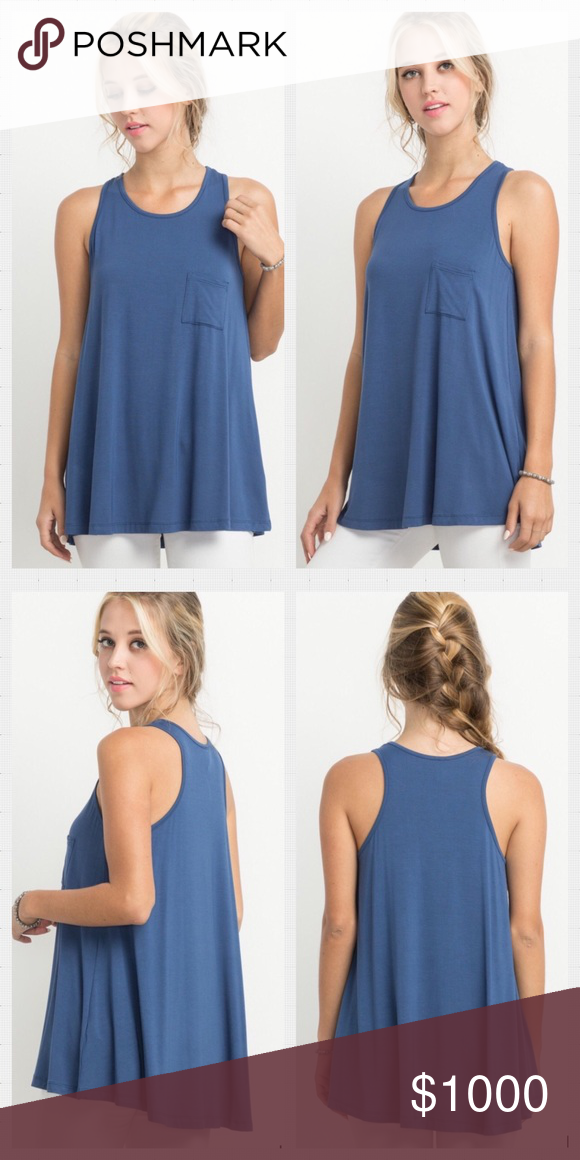 03e4f23ec250ed 💙Light Navy Bamboo Tank Top. S-L Bamboo Fabric Basic Pocket Tank Top.  Available in S-L Exact Style Also Available in Black and Strawberry Made in  USA ...