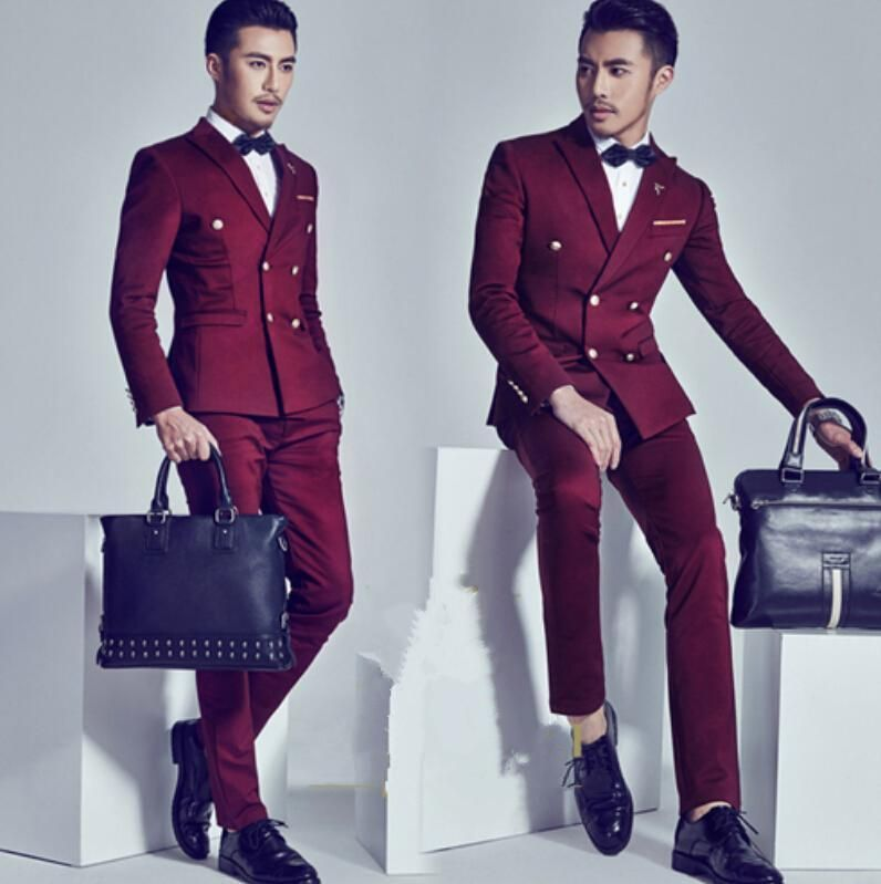 2016 Burgundy Double Breasted Groom Tuxedos Fashion Mens Wedding ...