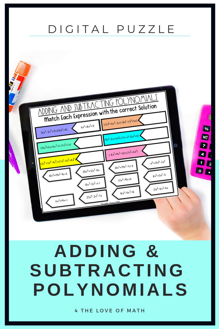 Included in this digital activity are 3 puzzle pages on adding and  subtracting polynomial…   Adding and subtracting polynomials [ 1107 x 735 Pixel ]