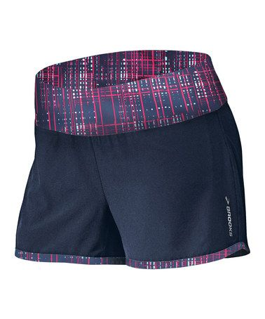 Look at this #zulilyfind! Midnight & Fuchsia Crosshatch Glycerin 2-in-1 Shorts - Women #zulilyfinds