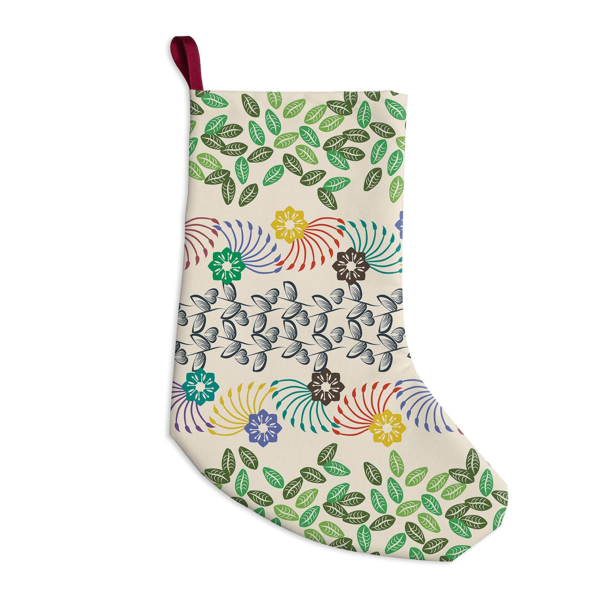 "Famenxt ""Flowers & Leaves Pattern"" Abstract Geometric Christmas Stocking"