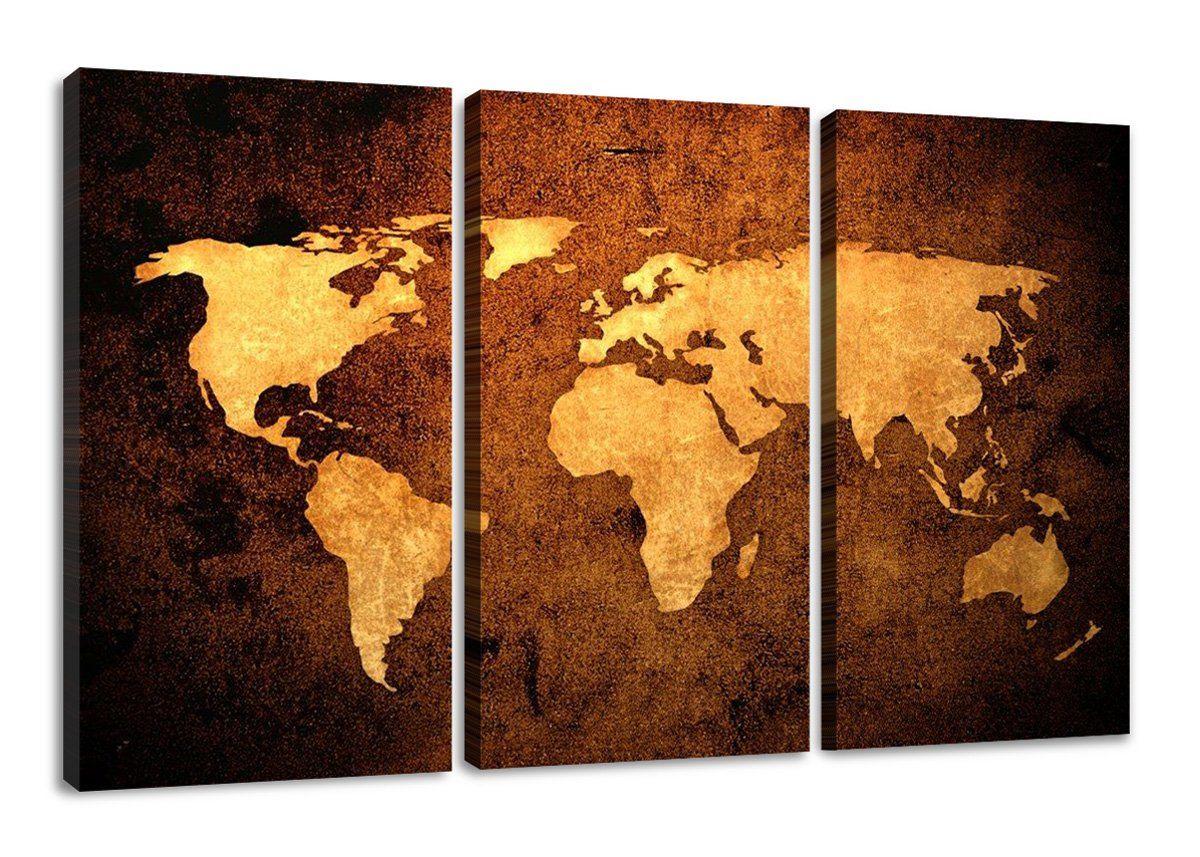 Bild Weltkarte Auf Leinwand 1162 Bilder Fertig Gerahmt Dreiteilig Marke  Original Visario: Amazon.de: Küche U0026 Haushalt