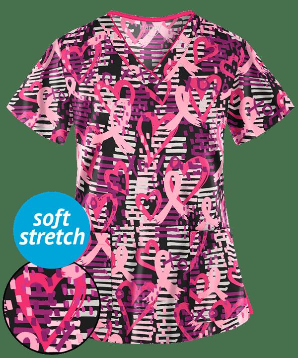 176ff1e722b Happy Scrubs Passion for Pink Black Scrub Top | Pink Ribbon Scrubs ...