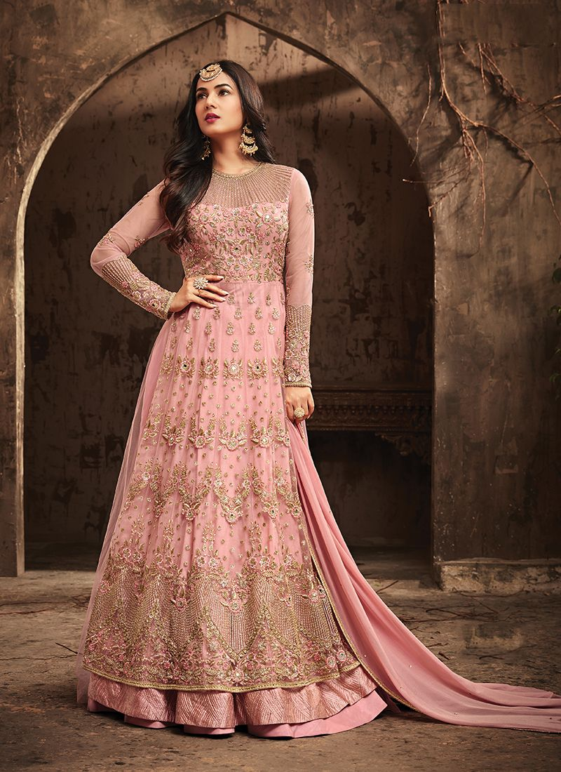 Indian Woman clothes Wedding Wear Party wear Pink Maisha Heavy