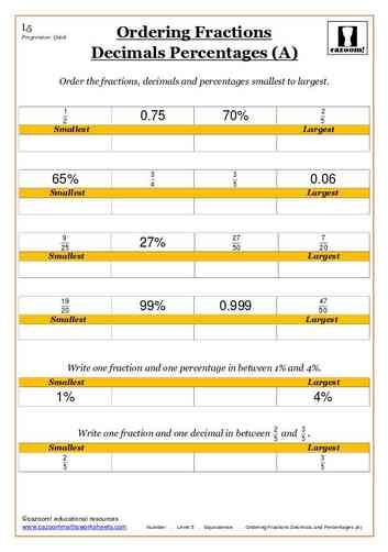 Ordering Fractions Decimals and Percentages (A) Maths Worksheets ...