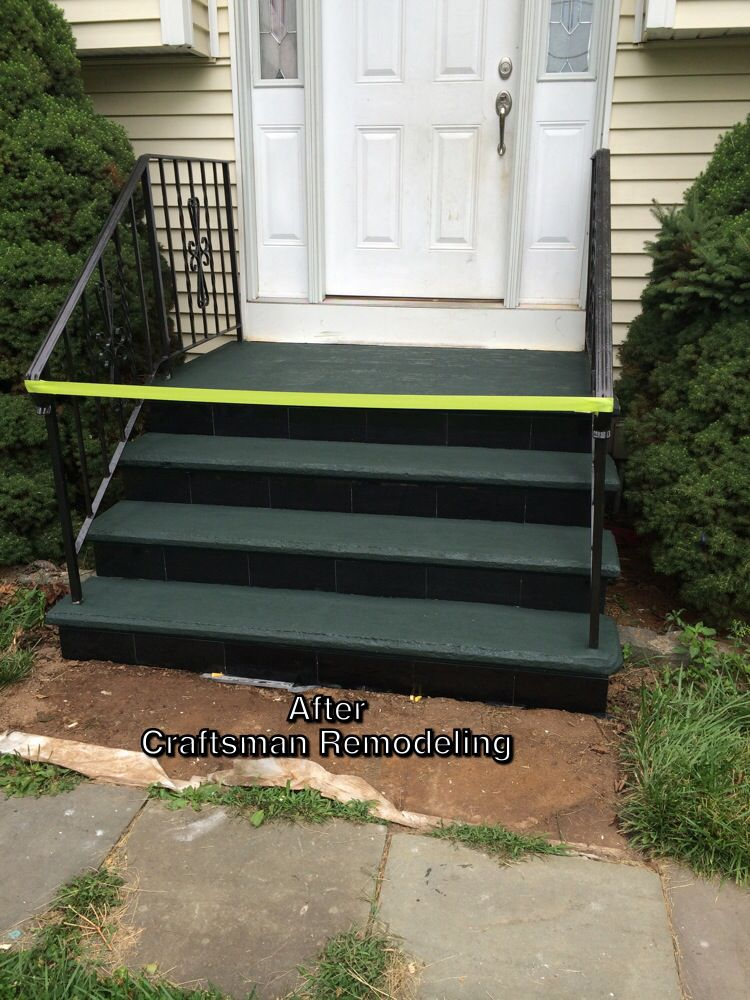 Added curb appeal by repainting the old metal railings and - Installing prehung exterior door on concrete ...