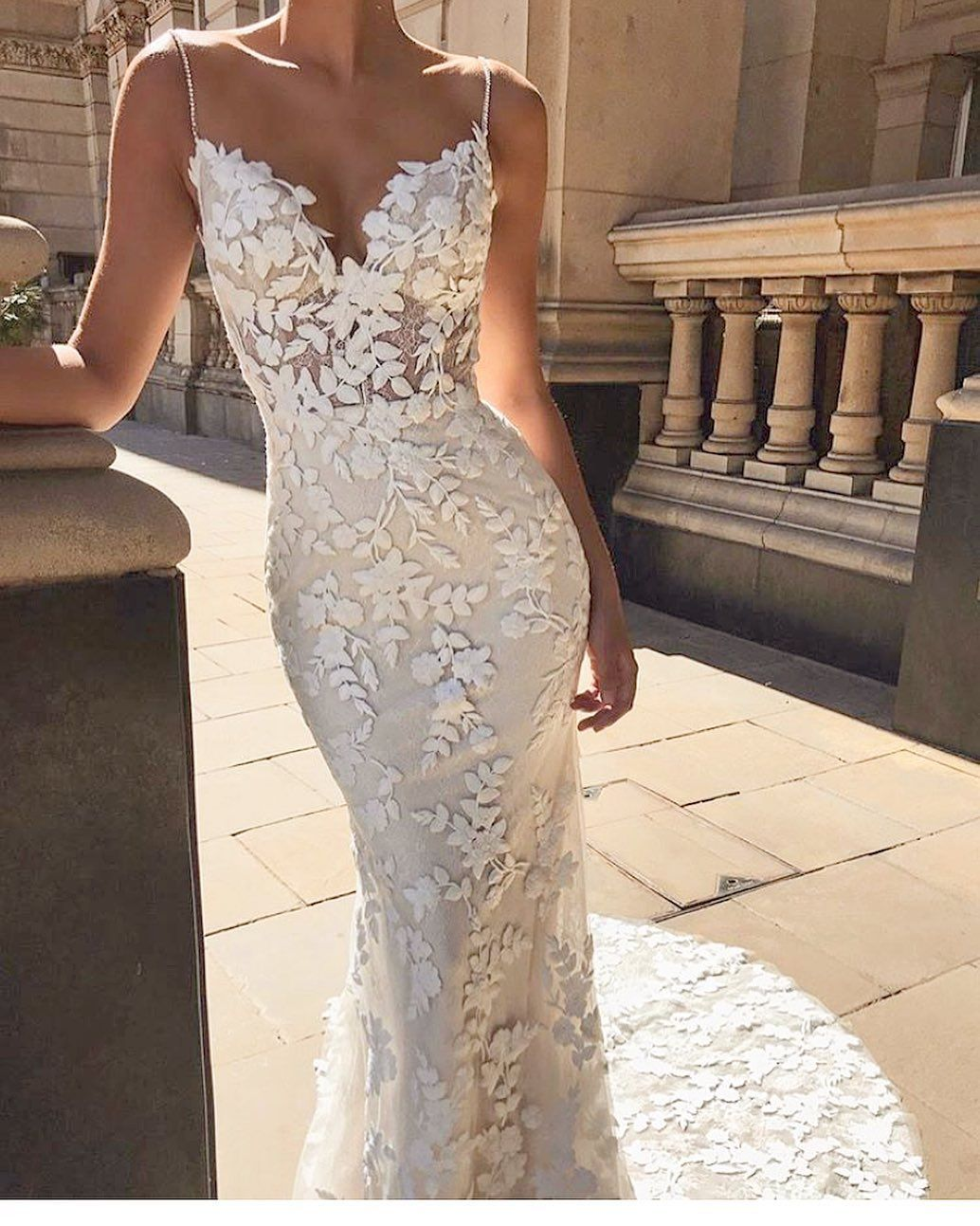 How Dreamy Is This Floral Lace Fit And Flare Bridal Gown The Lesley Gown From Enzoani Is Deigned W Wedding Dresses Lace Applique Wedding Dress Bridal Dresses