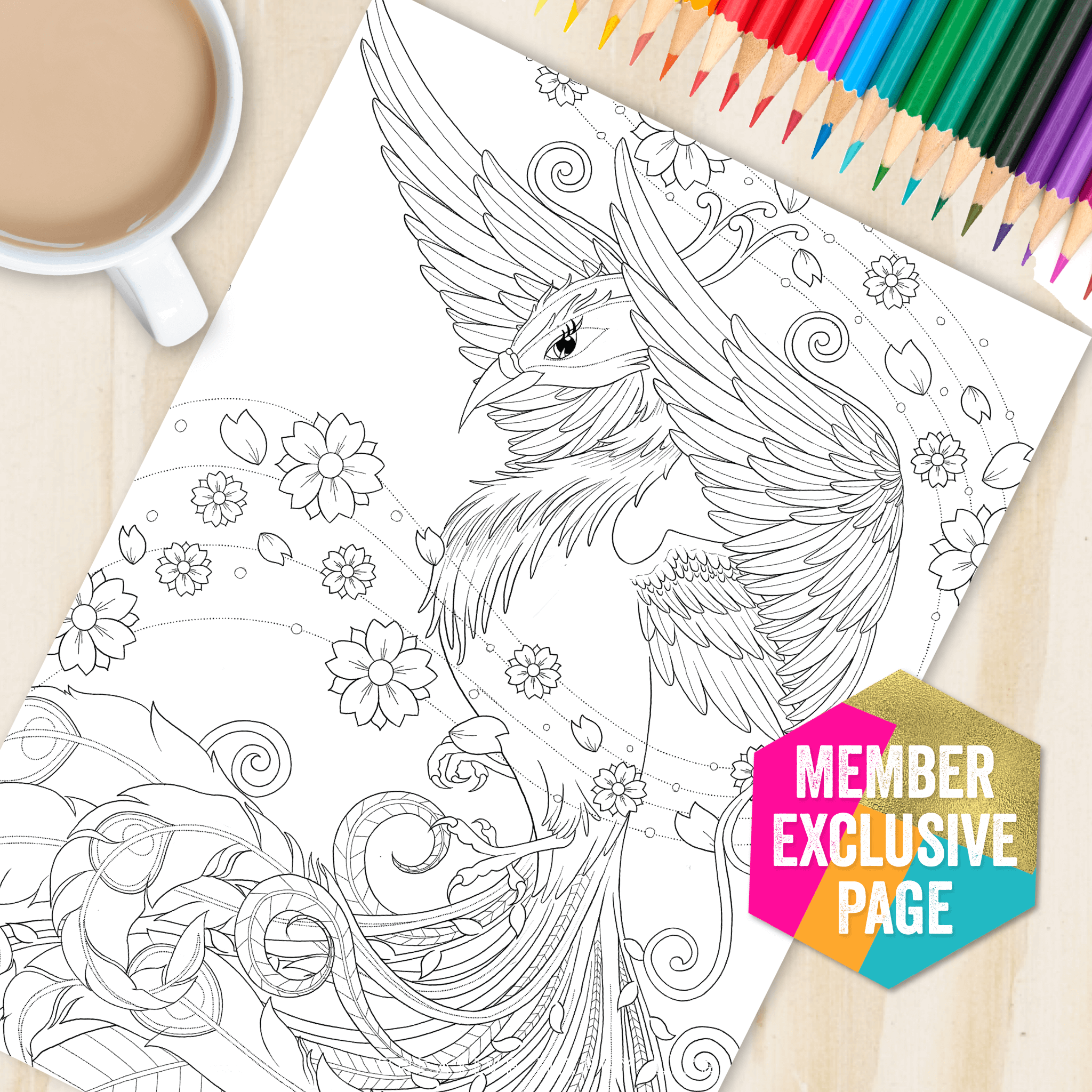 Get This Gorgeous Floral Phoenix Coloouring Page When You
