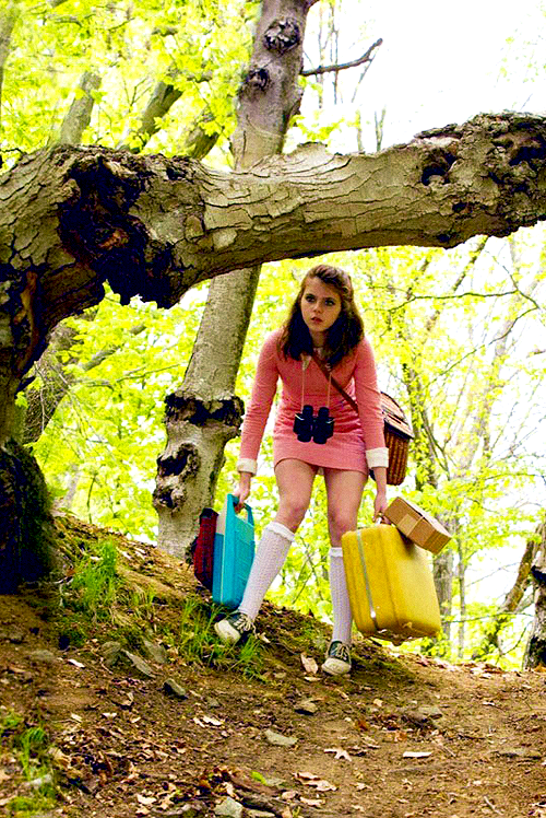 Moonrise Kingdom- Suzy Bishop  packing list:  portable record player,  batteries,  binoculars, scissors, a suitcase full of books and her cat