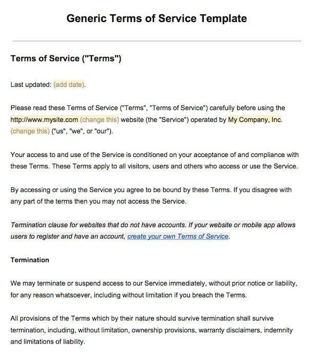 Sample Terms Of Service Template - Termsfeed with regard ...