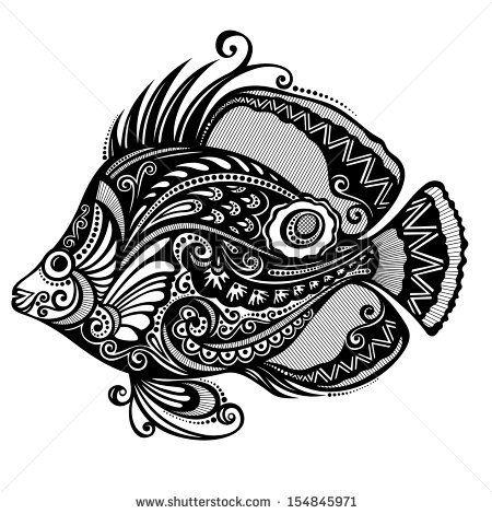 Vector Abstract Sea Fish Patterned Design Fish Vector Fish Patterns Abstract Pattern Design