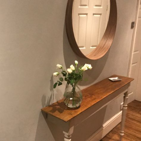My New Hall Upcycled Console Table And Ikea Mirror Roundmirror Ikea Periodproperty Hallway Ikea Mirror Ikea Stockholm Round Mirror Bathroom