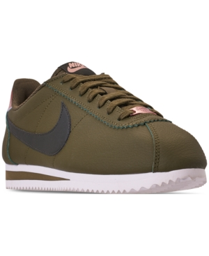 quality design 3d7b6 05c57 Nike Women s Classic Cortez Leather Metallic Casual Sneakers from Finish  Line - Green 10