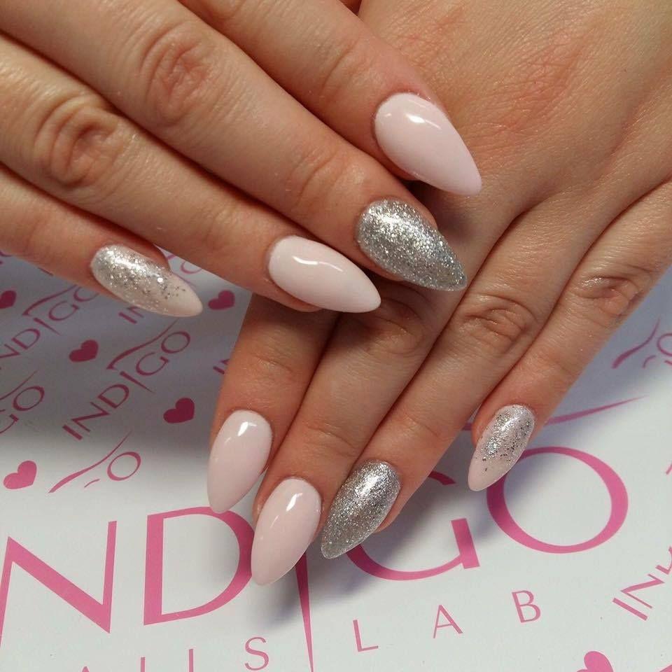 Indigo Gel Polish Milky Pink + Silver Cha Cha #silver #glitter #nude ...