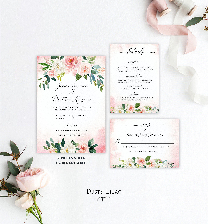 Blush Fl Wedding Invitation