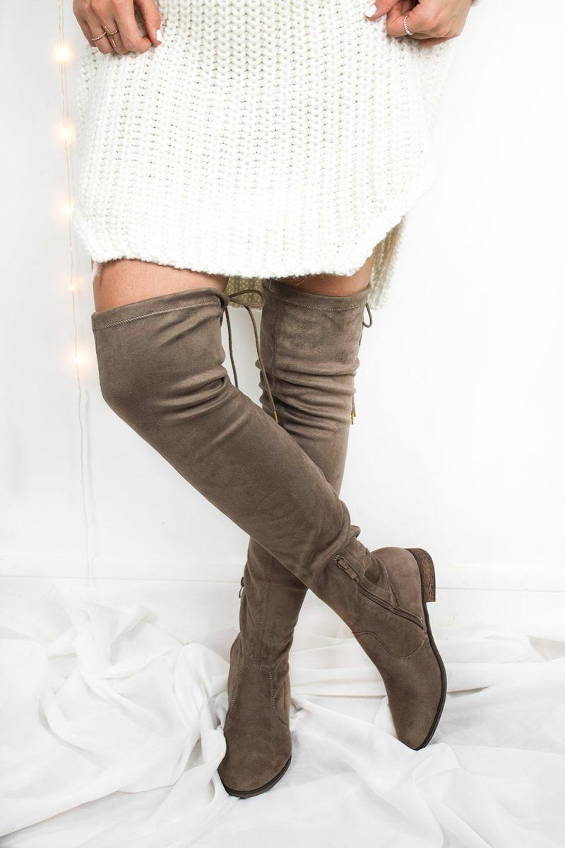 514d46ec0cd11b Cuissardes Taupes effet daim Jonc La vie est belle doré - Pretty Wire  Chaussure Boots Femme