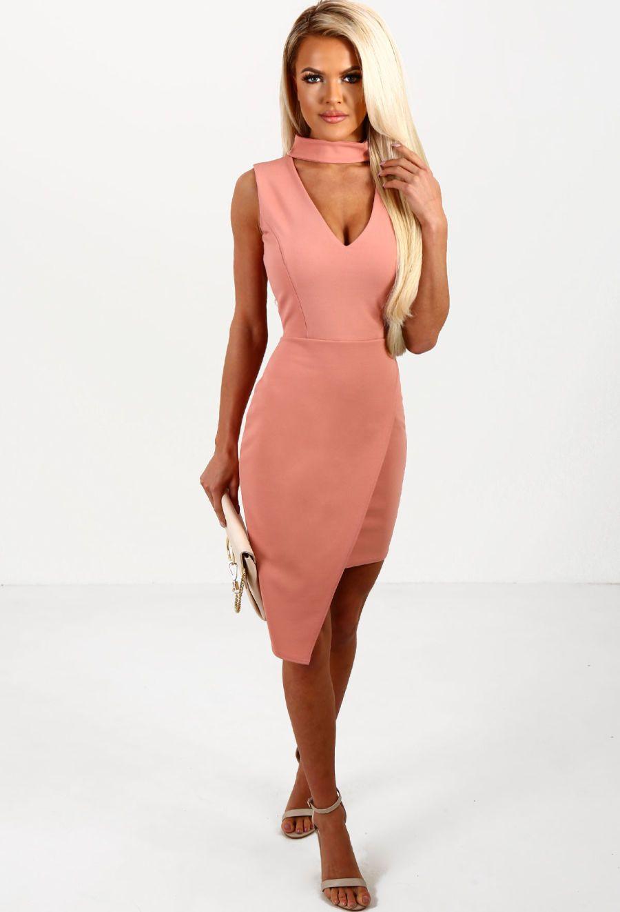 Almost famous light pink asymmetric choker midi dress official