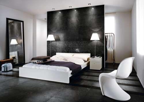 Chambre Moderne Design Blanc Gris Noir Carrelage Fauteuil Lit Adulte - Lit adulte gris