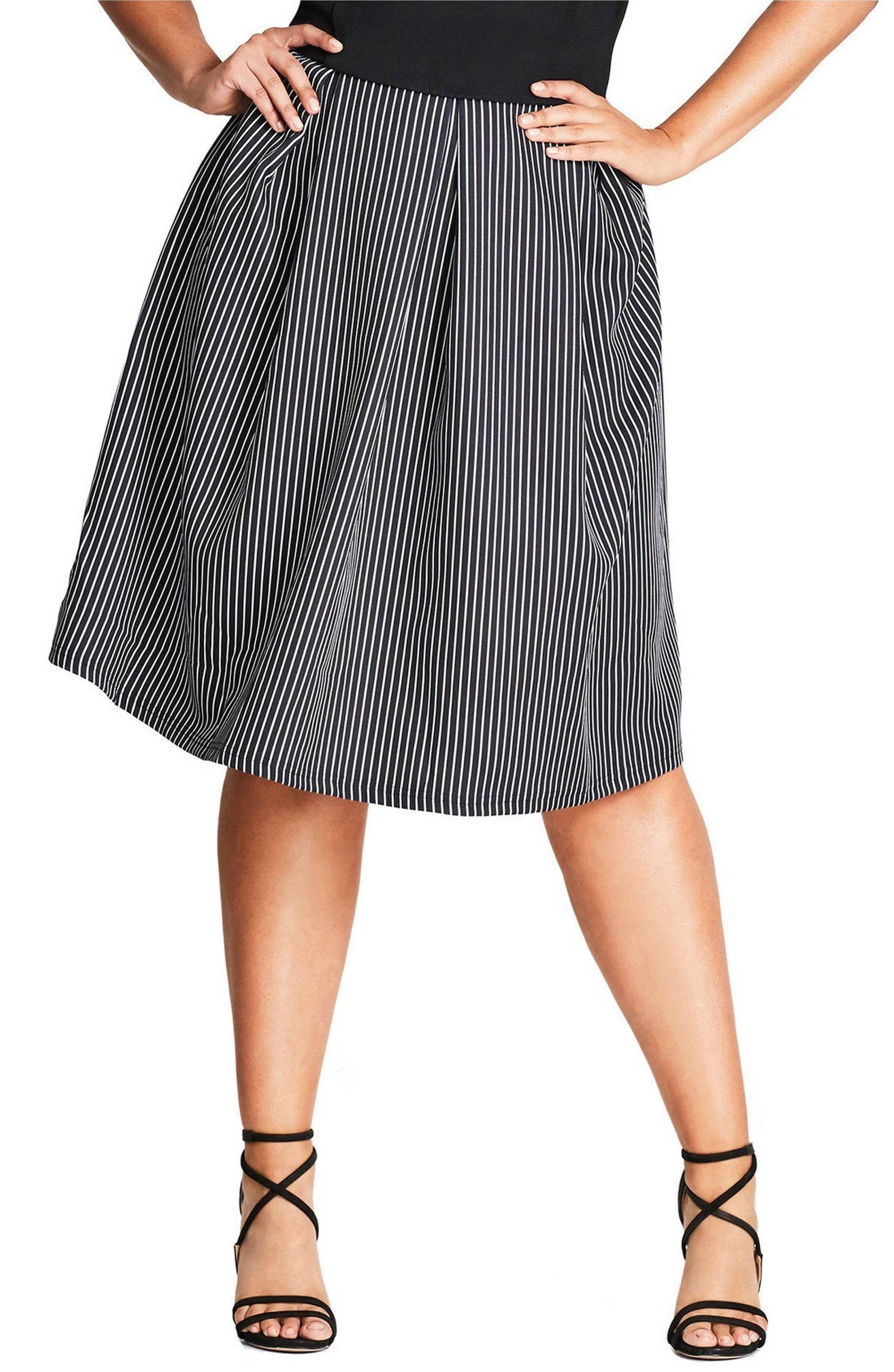 bc9421b9880 Main Image - City Chic Flirty Stripe Full Skirt (Plus Size)