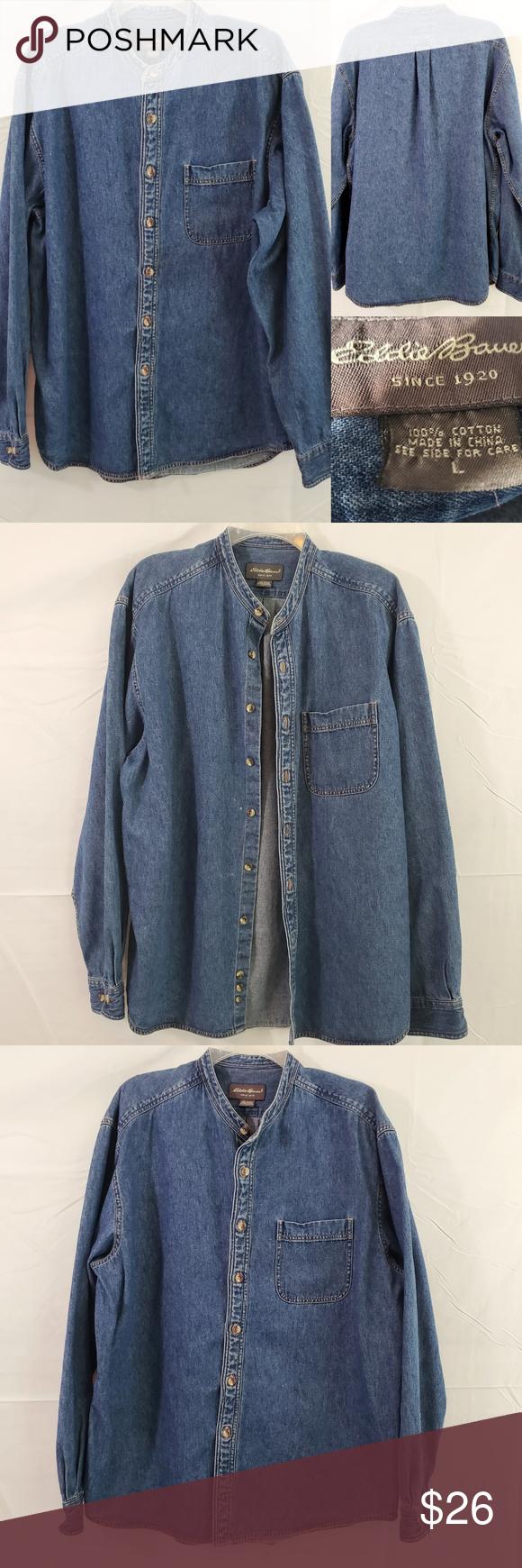 Eddie Bauer Long Sleeve Button Front Denim Shirt Button